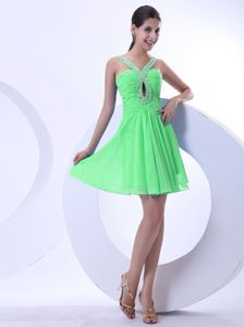 Green Short-Length Ruched Graduation Dress with Jeweled Neckline and Cutouts